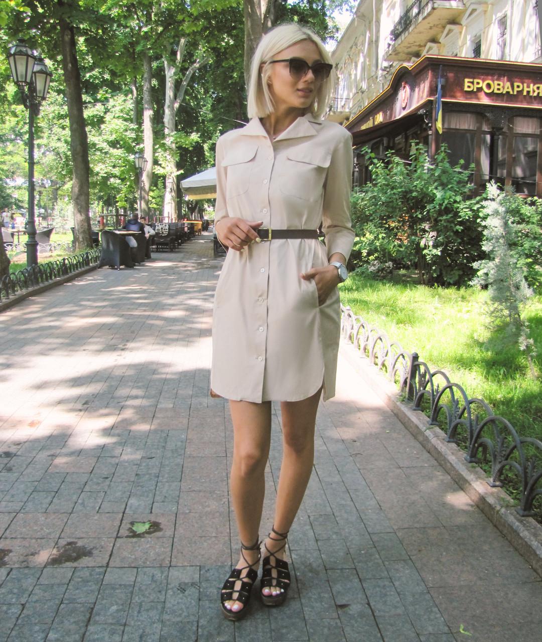 Платье-рубашка бежевое, арт.1007