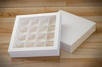 Коробка для 16 конфет, макаронс, кейк-попсов с ложементом БЕЛАЯ 145*145*29 мм. , фото 1