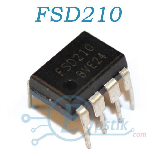 FSD210, ШИМ контроллер со встроенным силовым ключом, DIP7