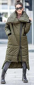Женский зимний пуховик-одеяло на молнии с воротником цвет хаки