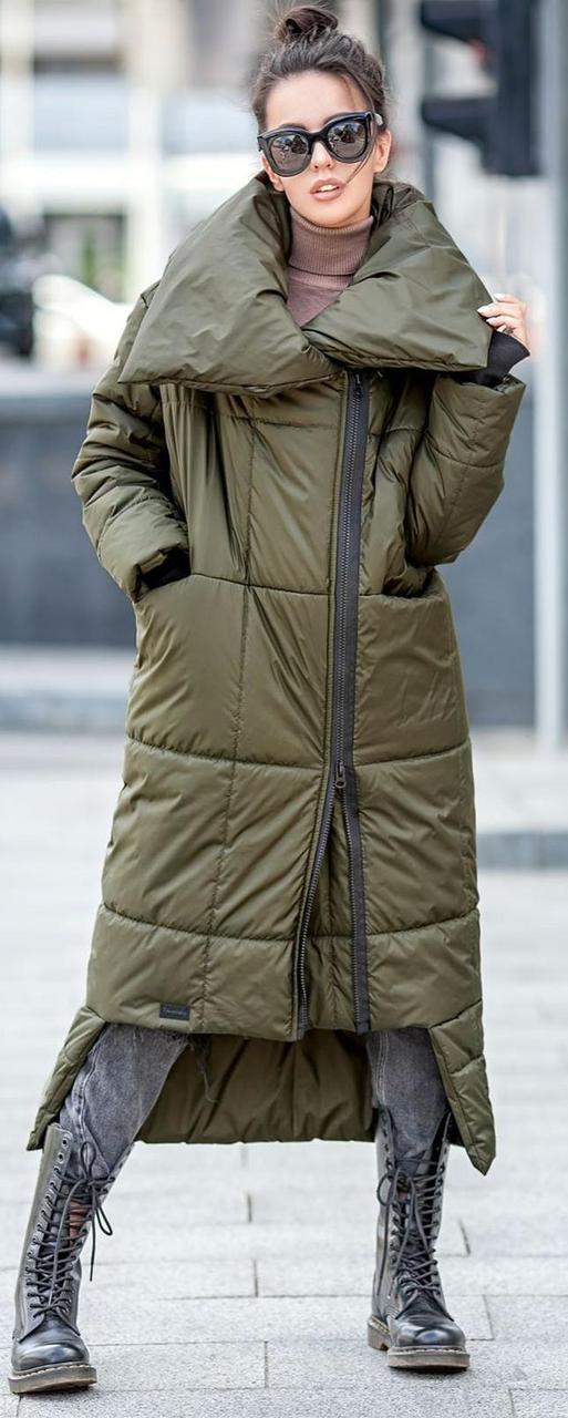 Жіночий зимовий пуховик-ковдру на блискавці з коміром колір хакі