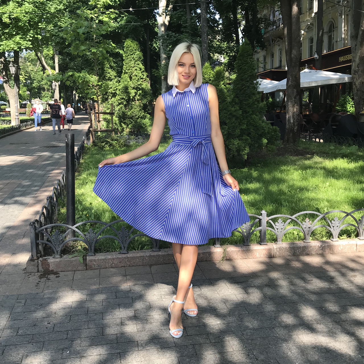 Платье-полоска электрик, арт.1009