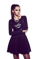 Платье трикотажное черное с кожаным лифом и юбкой клеш