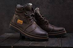 Зимние мужские ботинки Riccone темно-коричневые топ реплика