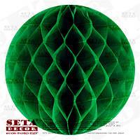 Зеленый шар-соты из тишью для декора d=30 см. Уценка.