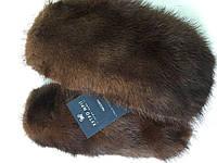 Варежки на вязанной основе из коричневой норки, фото 1