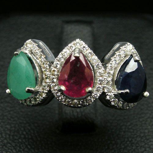 Кольцо с натуральными камнями - Изумруд, Рубин, Сапфир и фианитами