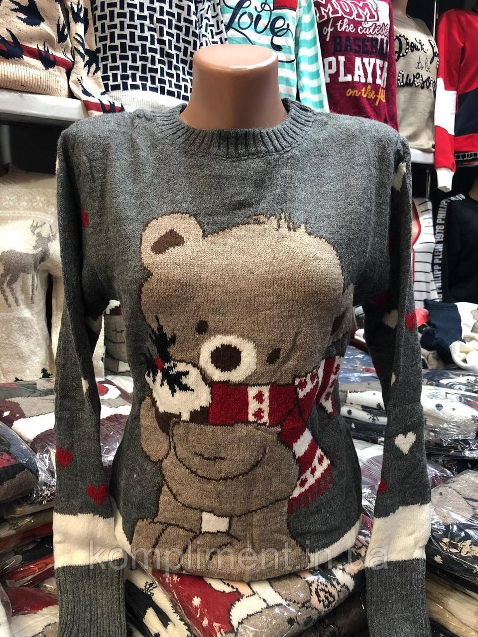 Шерстяной женский свитер с рисунком медвежонок,серый. Производство Турция.