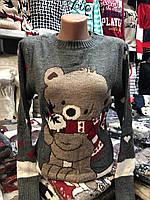 Шерстяной женский свитер с рисунком медвежонок,серый. Производство Турция., фото 1