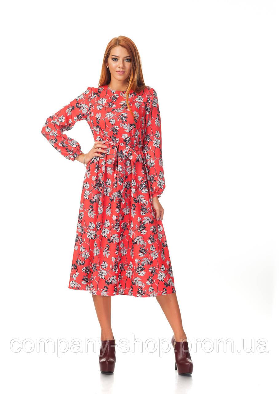 Офисное платье оптом. Модель П128_красная ягода