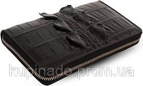 Кошелек-клатч CROCODILE LEATHER 18024 из натуральной кожи крокодила Черный, Черный