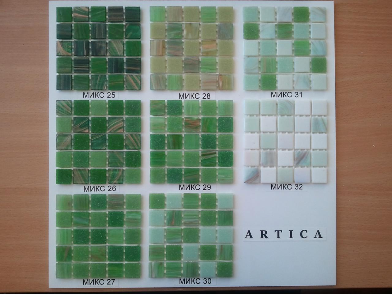Стеклянная мозаика в зеленой  гамме