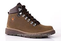 Зимние мужские повседневные кожаные ботинки оливковые GS  221/4 олива
