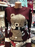 Вовняний жіночий светр з малюнком ведмежа,бордовий. Виробництво Туреччина., фото 1