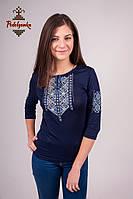 Жіноча вишиванка Лоза сіро-голуба на синьому, рукав 3/4, фото 1