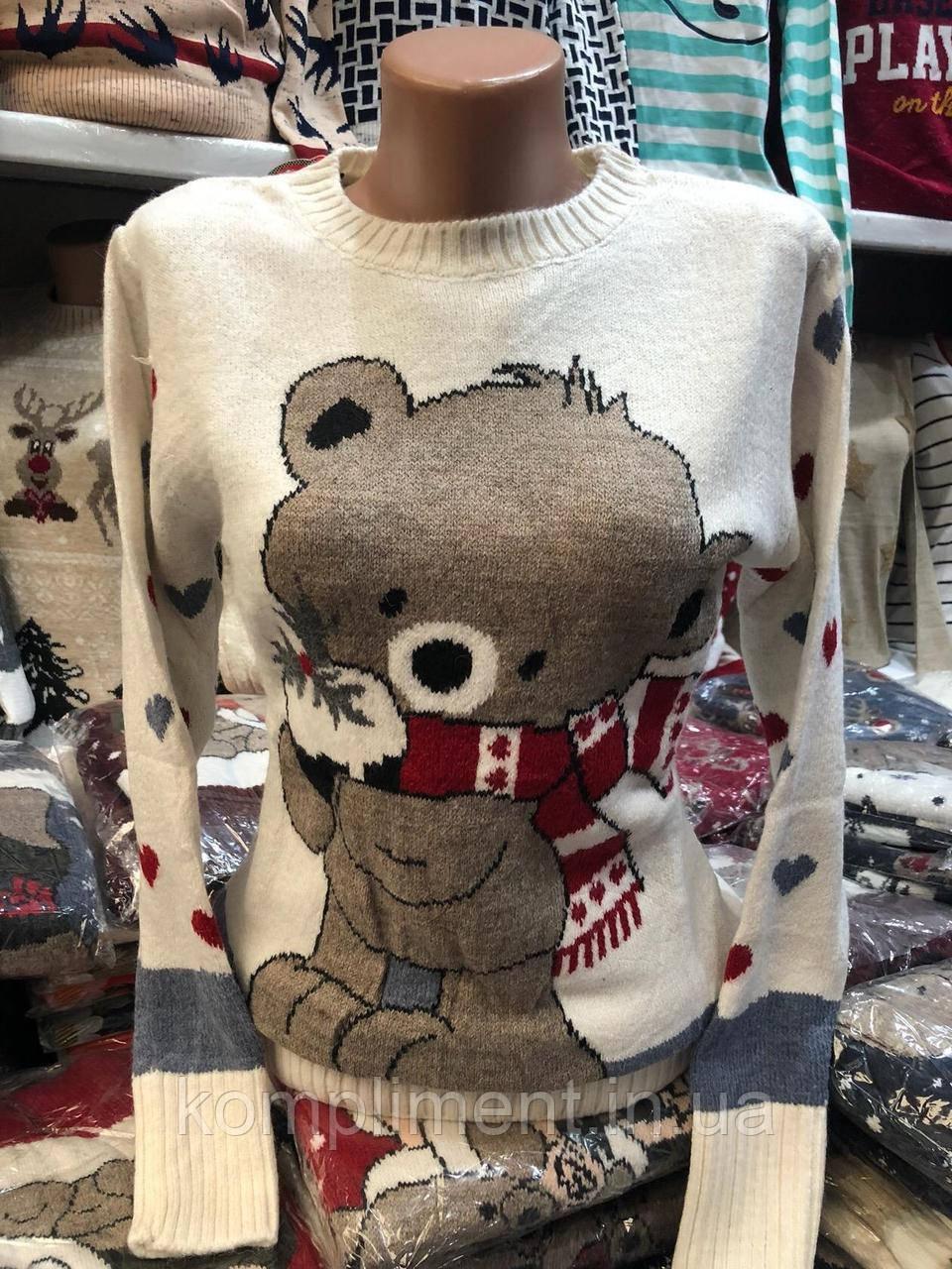 Вовняний жіночий светр з малюнком ведмежа,білий. Виробництво Туреччина.