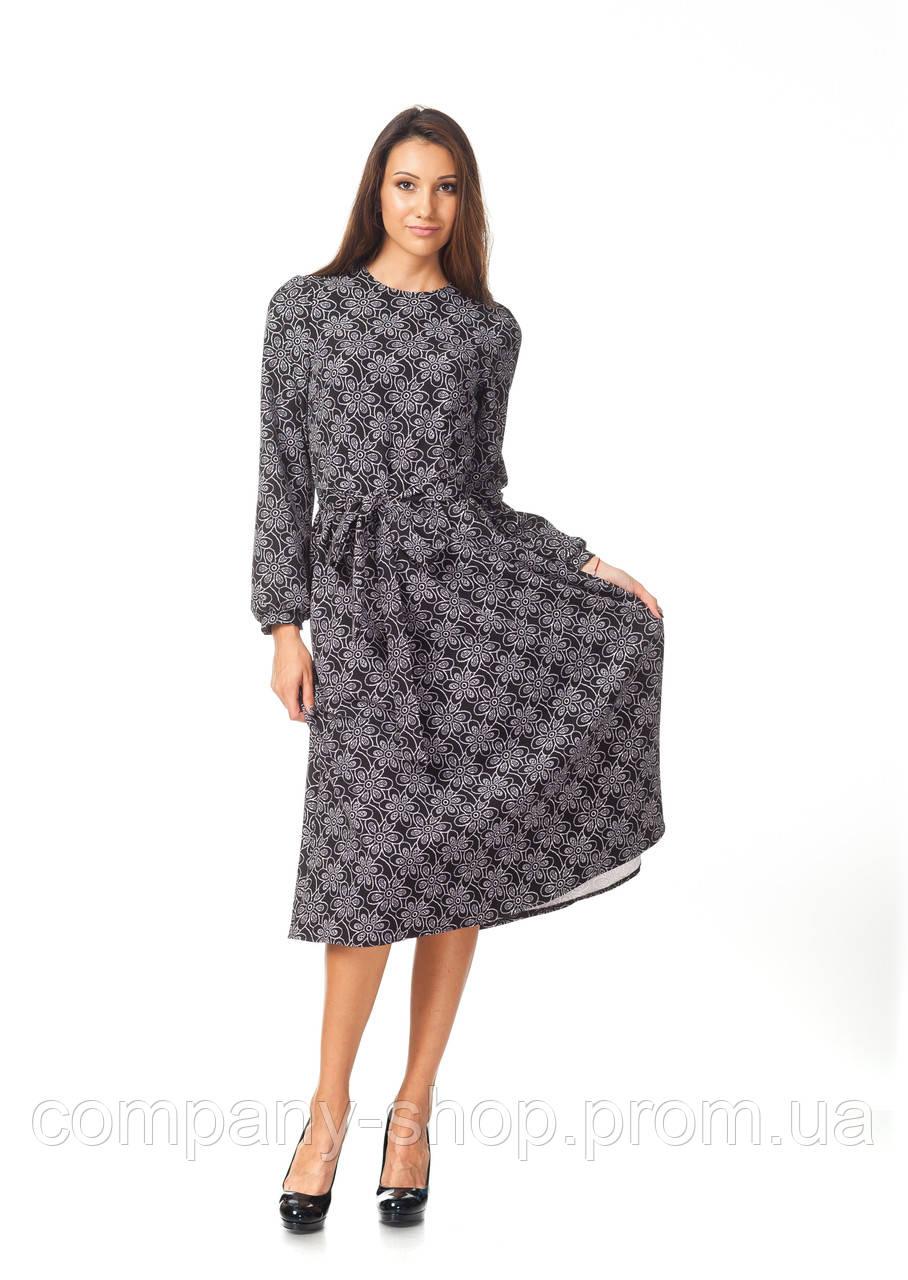 Офисное платье оптом. Модель П128_ромашки на черном