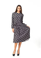 Офисное платье оптом. Модель П128_ромашки на черном, фото 1