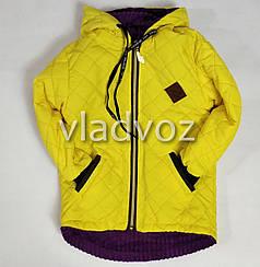 Детская демисезонная куртка для девочек желтый 3-4 года