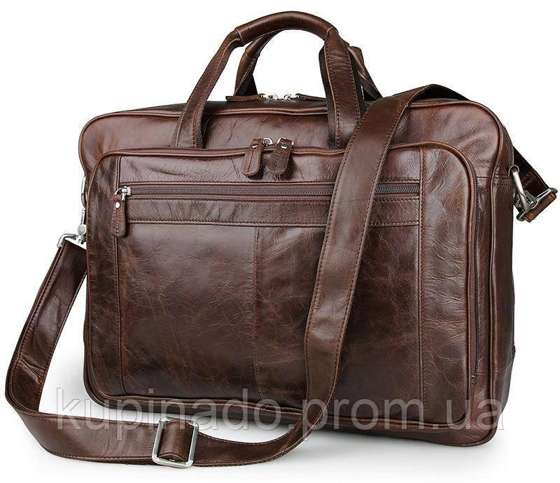 Сумка мужская Vintage 14371 для ноутбука 17 дюймов Коричневая, Коричневый