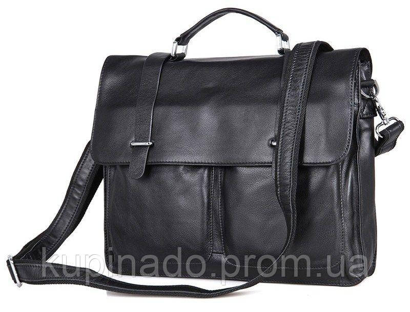Сумка мужская Vintage 14401 кожаная Черная, Черный