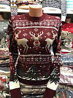 Шерстяной женский свитер с рисунком олени,бордовый. Производство Турция., фото 1