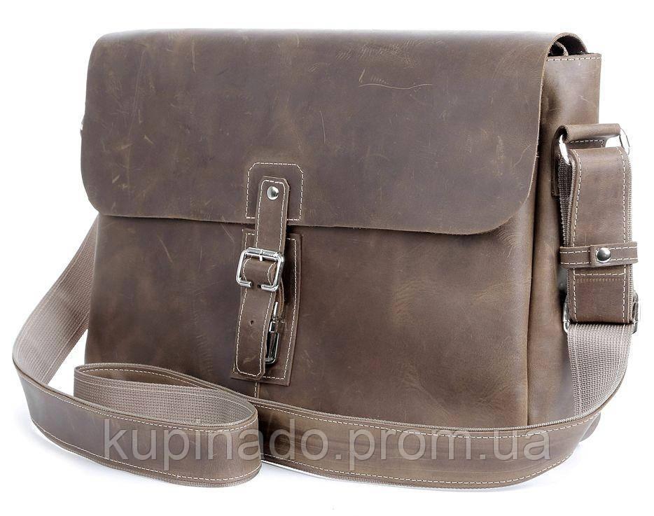 Сумка SHVIGEL 00980 из натуральной винтажной кожи Коричневая, Коричневый