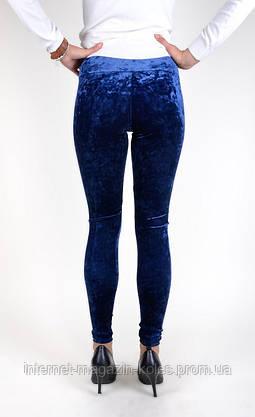 Синие женские велюровые лосины, фото 3