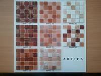 Стеклянная мозаика в бордово-коралловой  гамме, фото 1