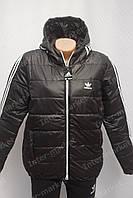 Стильная стеганная куртка с капюшоном в стиле ADIDAS три полосы