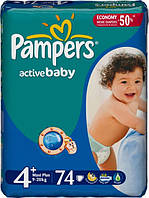 Подгузники Pampers Active Baby 4 Maxi plus (9-20 кг) 74 шт.