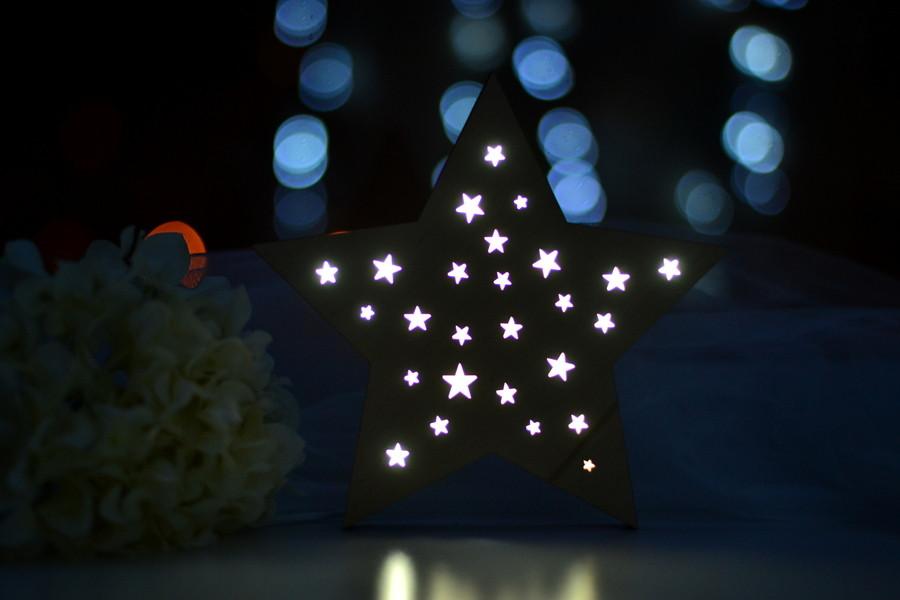 """Деревянный ночник для ребенка """"Звезда"""""""