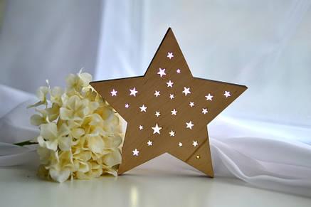 """Деревянный ночник для ребенка """"Звезда"""", фото 2"""