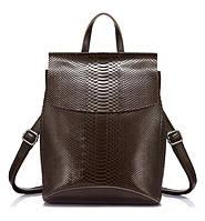 Рюкзак сумка трансформер женский кожаный с тиснением под рептилию (коричневый)