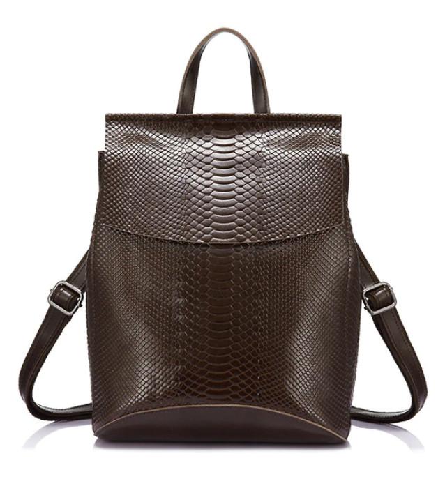 Рюкзак сумка трансформер женский кожаный с тиснением под рептилию  (коричневый) ec58e831519