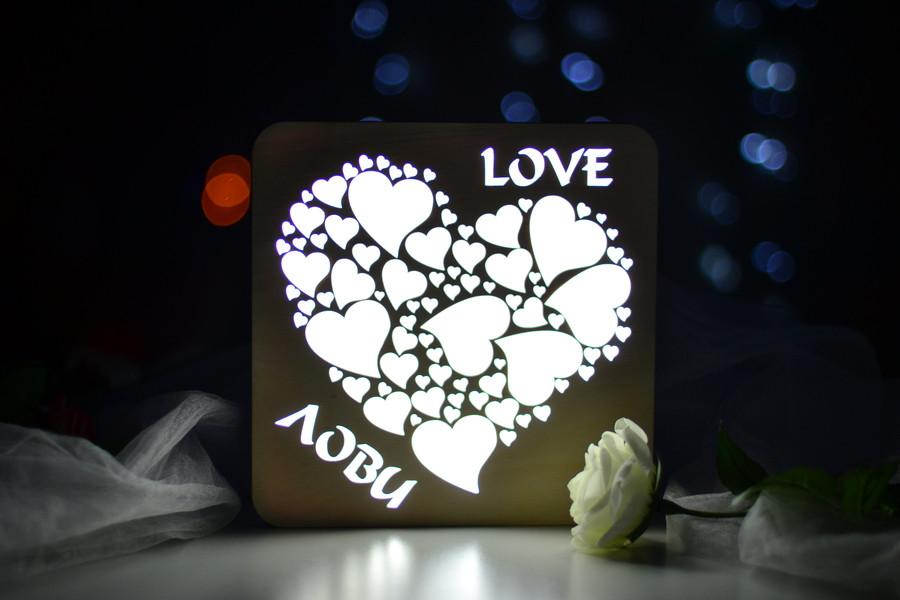"""Деревянный ночник домик """"Love"""" любовь..."""