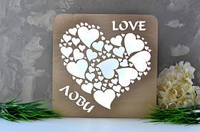 """Деревянный ночник домик """"Love"""" любовь..., фото 2"""