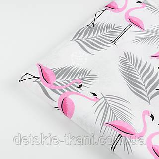 """Лоскут ткани №1392 """"Розовые фламинго с серой веткой пальмы"""""""