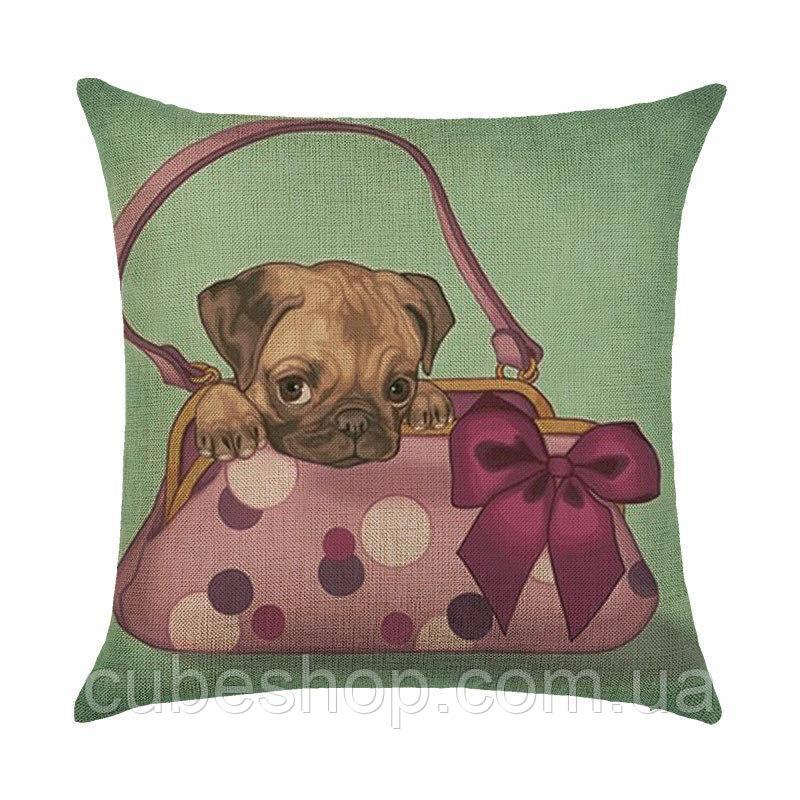 Подушка декоративная Puppy in the Handbag
