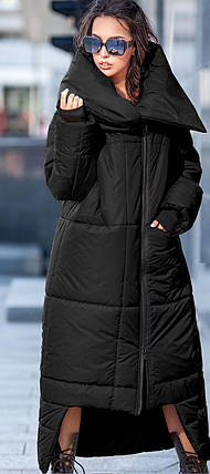 Женский зимний пуховик-одеяло на молнии черного цвета с широким воротником , фото 2