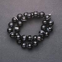 Бусины из натурального камня Агат гладкий шарик d-12мм нитка L-+-38см