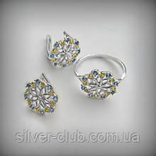 12035 Серебряный комплект Украинка украинская тематика 925 проба