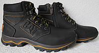 Детские зимние в стиле Caterpillar сапоги кожа ботинки САТ мех теплые качество черные
