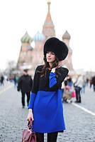 Стильное платья в комбинации двух цветов черный и синий электрик