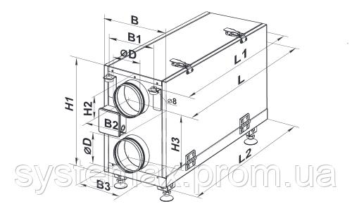 Схема габаритных размеров Вентс ВУТ 300 Г мини (Vents VUT 300 H mini)