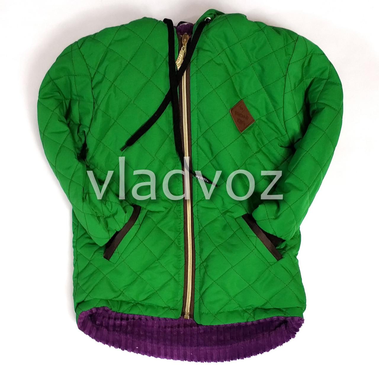 Демисезонная детская куртка для девочки зелёный 2-4 лет 4025