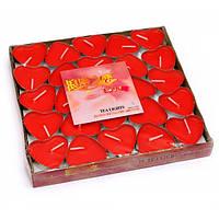 Свечи чайные красные Сердце 50 шт 29566