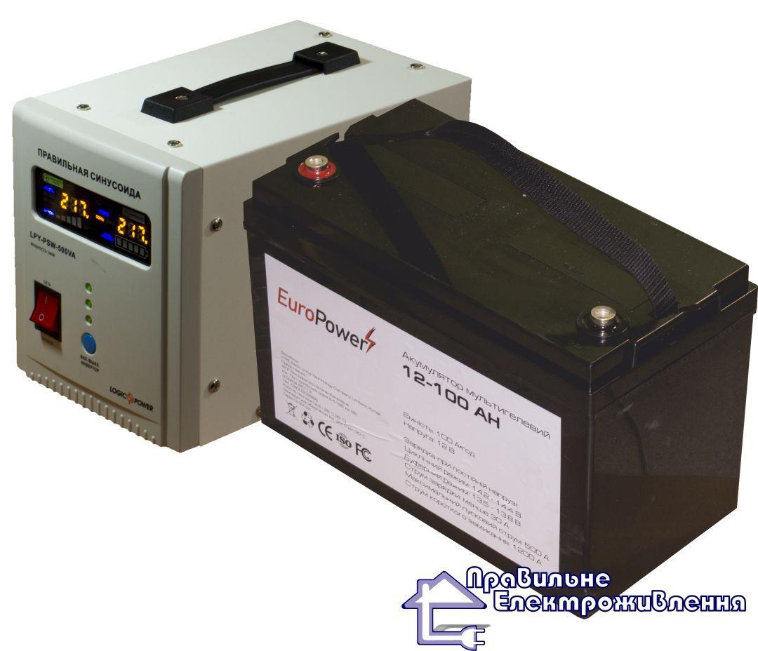 ДБЖ LPY-PSW-500 + Акумулятор LP-100 Ah = 8-12 год автономної роботи котла опалення!