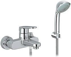 EuroPlus II Смеситель для ванны, однорычажный в комплекте с ручным душем+шлангом для душа
