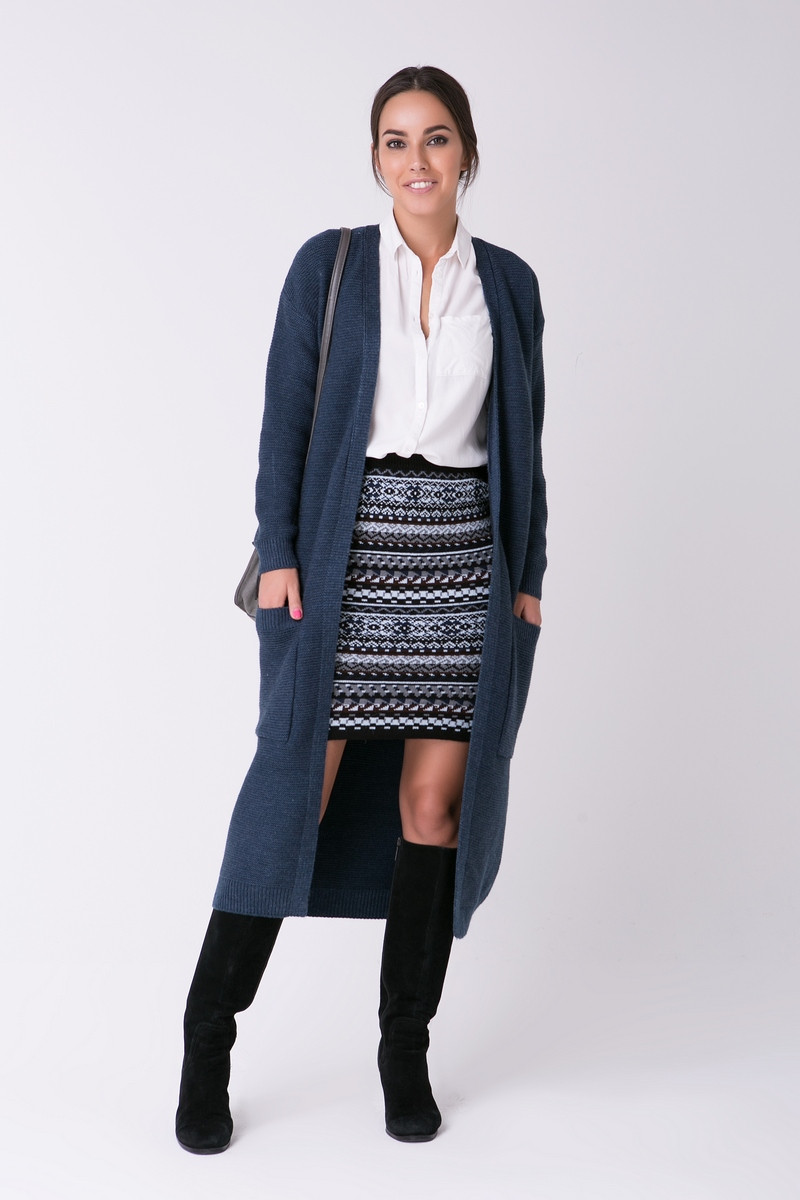 SEWEL Пальто CW465 (46-48, джинс, 60% акрил/ 30% шерсть/ 10% эластан)